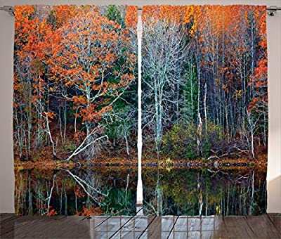 """Ambesonne Leaves Curtains, Forest with Tree Reflections Over The Lake Rural Forest Charm Scenic Concept, Living Room Bedroom Window Drapes 2 Panel Set, 108"""" X 84"""", Brown Red"""