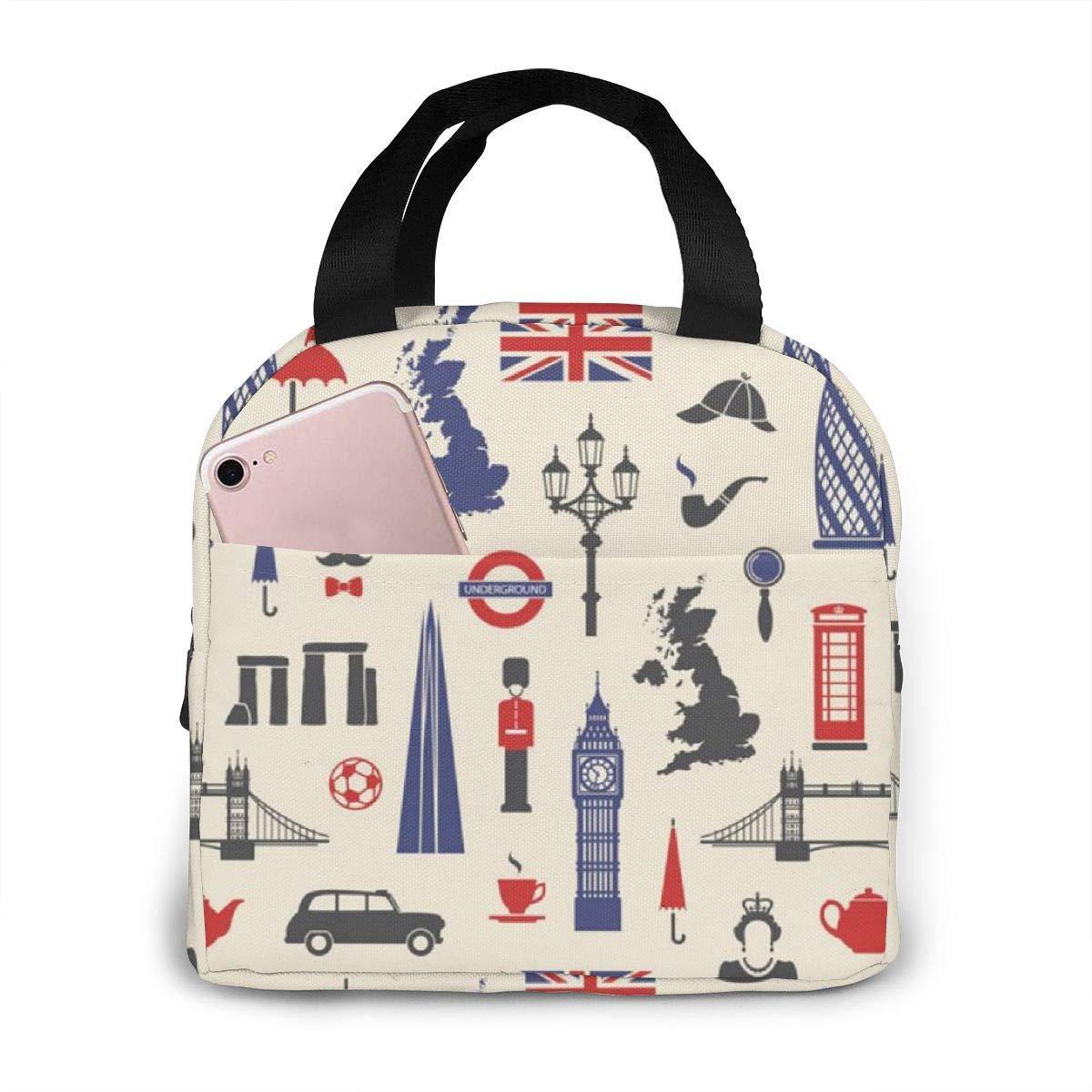 Inglaterra Londres Reino Unido Reutilizable Aislamiento Térmico Bolsa de almuerzo Estuche Bolsos Tote con cremallera para adultos Niños Enfermera Profesor Trabajo Picnic de viaje al aire libre: Amazon.es: Hogar