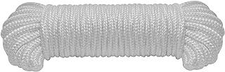 9mm(3/8 Inch) Nylon Braided Rope,50feet Paracord Solid Braided Multi-Purpose Utility Rope, White Soft Single Pack Nylon Ropes,Polypropylene Rope,White