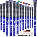 SAPLIZE Multi Compound Golf Grips, 13 Piece with Complete Regripping Kit, Standard Size, Cord Rubber, Hybrid Golf Club Grips, Blue CL03S Series