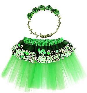 Amosfun Princesa de Hadas Verde Disfraces Trajes de Rendimiento para niños Traje de Fiesta de Princesa de Hadas de Primavera Diadema y Vestido para niñas Decoración de la Fiesta Infantil