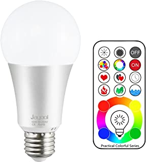 Jayool E26 120 Colors LED Color Changing Light Bulb with Remote Control, 10W RGBW Light Bulb With Timing, RGB+Daylight White(6000K) (1 Pack)