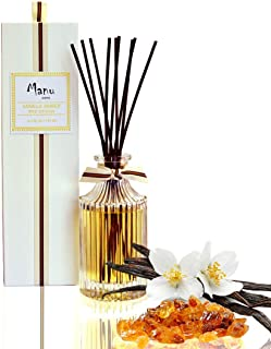 Manu Home Vanilla Amber Reed Diffuser Giftset | 6.5oz Sensual Blend of Vanilla and Rich Amber with a Nice Base Tone of Sun-warmed Teak | Beautiful Reusable Bottle and Brown Reeds | Made in USA