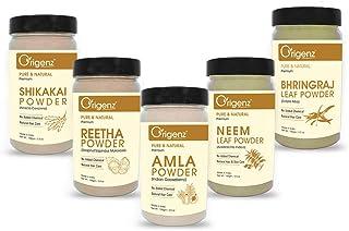 Origenz Premium Amla Reetha Shikakai Bhringraj Neem Powder Combo Pack for Healthy Hair (Pack of 5 X 100gm)
