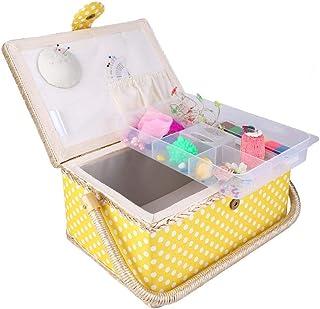 裁縫箱 裁縫用品収納ボックス 二層設計 磁気ボタン 260°調整可能 大容量 丈夫 家庭用 工芸 内蔵機能 取り外し可能 レモンイエロー