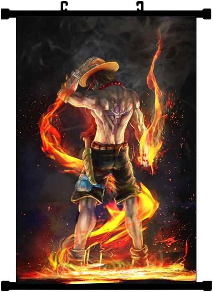 ALTcompluser Anime One Piece Luffy Ace Tableau /à enrouler 30 x 45 cm Kakemono Wallscroll D/écoration murale en tissu Poster suspendu Portgas D Ace