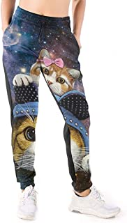 Funny Hats Twin Cat Galaxy Womens Jogger Sport Pants Casual Gym Workout Sweatpants Pockets