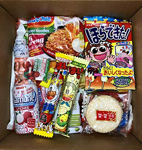 Asian Dagashi Snack Surprise Mystery Box 25 Pieces w/ 3 FULL SIZE Items Including Drink, Instant Noodle, Assortment of Chinese, Korean, Japanese Sweet and Savory Snacks, Candy, Food