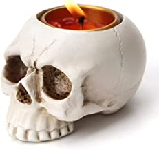 JNKET Mini Resin Skull Candle Holder Skeleton Head Candlestick Tealight Cup for Halloween Decoration