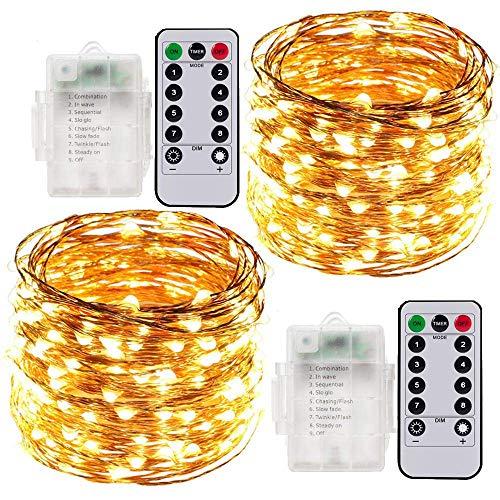 Stringa Luci LED, 2 Pacchi 10M Catena Luminosa Batteria Luci Natale 100 LEDs per Natalizie Decorazioni Interno ed Esterno Telecomando 8 Modalità Impermeabile(Giallo Caldo)