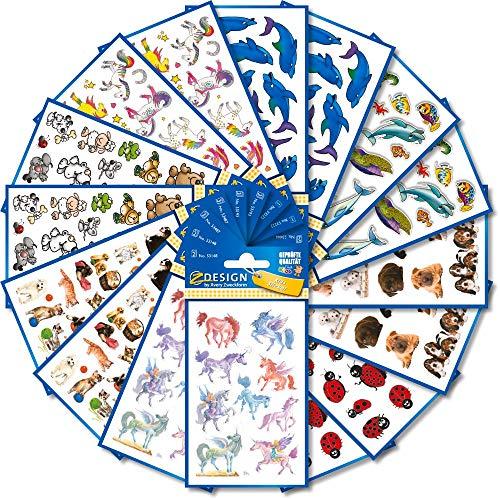 AVERY Zweckform 461 Sticker für Kinder (Aufkleber Kinder, Tiere, Kindersticker, Einhorn, Hunde, Marienkäfer, Elefant, Maus, Bär, Giraffe, Pferde, Delfine, Fische, Kindergeburtstag) 59992