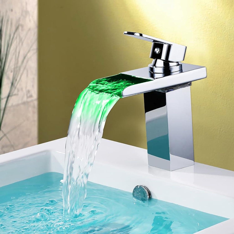 BKPH Waschbecken Mischbatterie Hahn Temperaturregelung geführt 3 Farben gendert durch Wasserkraft Einzelhandgriff EIN Loch Badezimmer Wasserfall Wasserhahn Messing Chrom