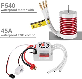RCRunning 540 4370KV 3.175mm Shaft Brushless Motor 45A Waterproof Brushless ESC Combo for 1/10 RC Car (Banana Plug)