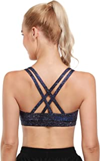 OMANTIC Women's Sports Bra - Criss-Cross Back Wirefree Padded Strappy Medium Support Athletic Gym Yoga Bras