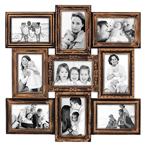 Hello Laura - 9 Opening Photo Frame Classic Royal Rustic Bronze Frame 18 x 18 Wall Hanging Photo Frame for 4 x 6 inch Photo Sockets x 9 Frame Edge | Gallery Style