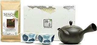 Zen no Megumi Sencha tea set - Japanese loose leaf Organic Green tea tea pot 2 cup Made in Shizuoka Japan S...