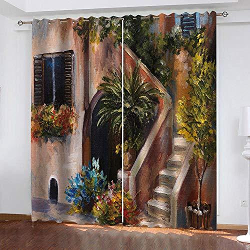 LHUTY Cortinas Opacas Escaleras de Pintura al óleo 3D Estampado Simple Cortinas Opacas con Ollaos para niños Hogar Salon Dormitorio Moderno Juveniles 2 x 110 x 215 cm (An x Al)