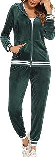 Enjyam Dames velours trainingspak knuffelig Nicki huispak 2-delig joggingpak fluweelzacht geribbelde rits jas en broek met...