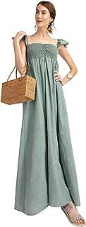 Anna-Kaci Ruffled Cap Sleeve Smocked Ruche Bodice Front Slit Maxi Long Beach Vacation Dress