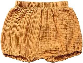 Pantalones cortos para bebé recién nacidos Bloomers de mezcla de lino para niños, pantalones cortos harén