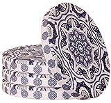Juego de 4 cojines redondos para silla, 40 cm de diámetro x 4 cm, color azul y rosa