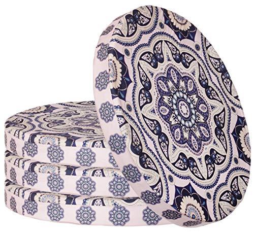 Sitzkissen 4er-Set im Ornament Design Rund Stuhlkissen Sitzpolster Bodenkissen Größe: ca. Ø 40 cm x 4 cm - Blau/Rosa