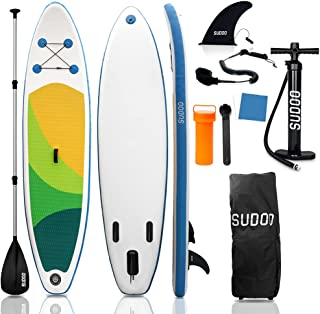 """SUDOO 10FT 3M Inflatable Stand Up Paddle Board SUP Board 6"""" Thick Surfboard LightweightNon-Slip EVA Deck SUP Package Comp..."""