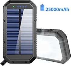 Solar Charger, 25000mAh Battery Solar Power Bank Portable Panel Charger with 36 LEDs and..