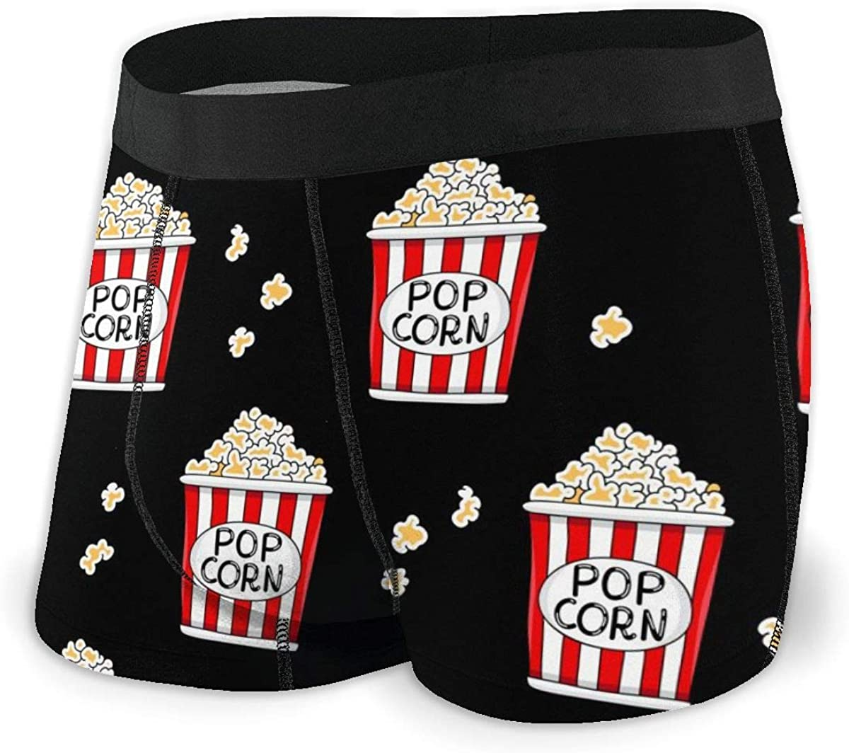 Randolph Wordsworth Mens Underwear Cartoon Cute Funny Buckets of Popcorn Boys Boxer Briefs Trunks Low Rise Underpants Man