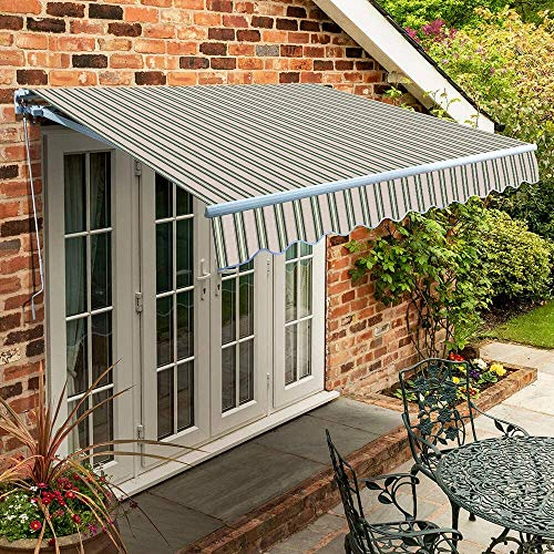 Primrose 1.5m x 1.0m Manual Awning Standard Cassette DIY Patio Awning Gazebo Canopy (4ft 11') Complete with Fittings and Winder Handle (Multi Stripe)