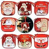 MEJOSER 8pcs Cajas Regalos Navidad de Hojalata 7 x 7 x 3,2cm Monederos Colgantes...