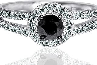 1cttw Diamond Black Diamond Engagement Ring Round Halo Split Shoulder 10K White Gold