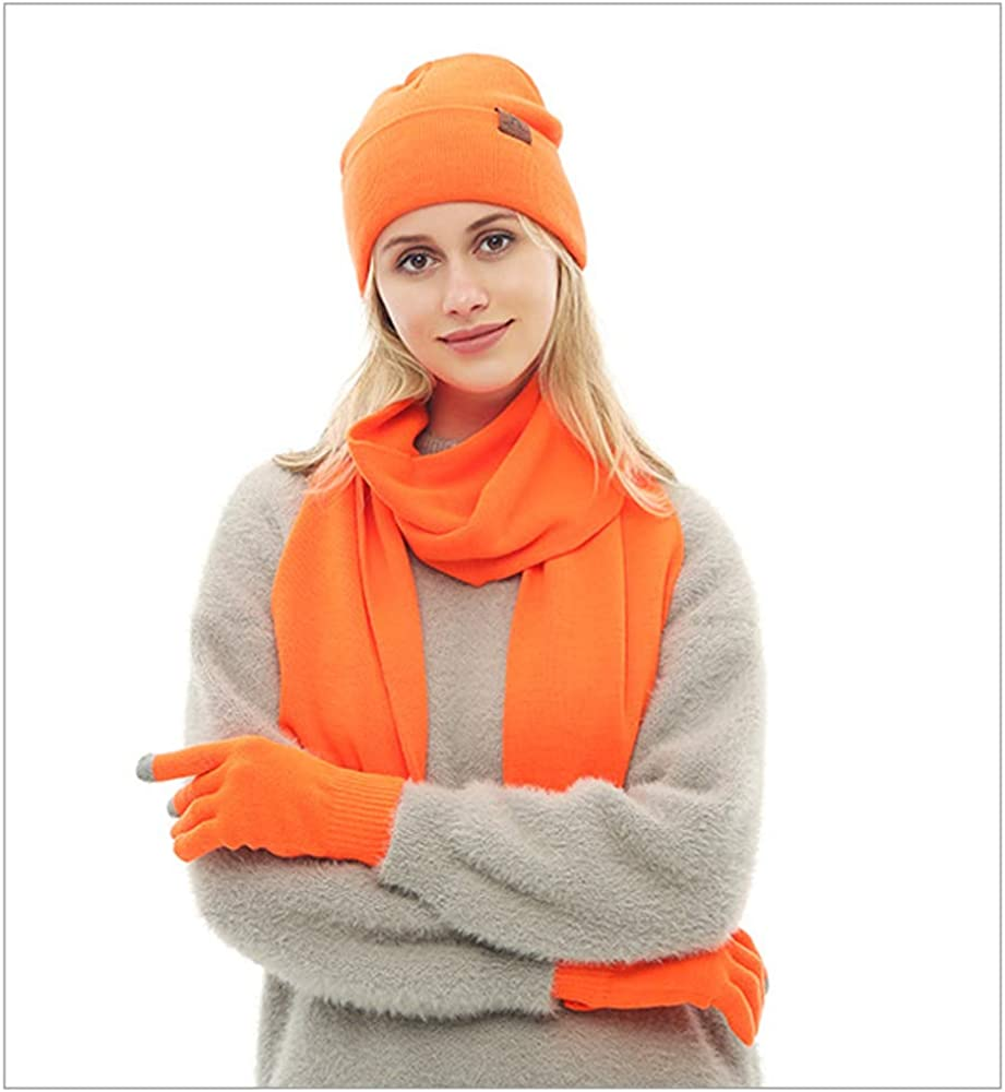 K-mover Knit Beanie Hat Scarf Touch Screen Gloves + Hat + Scarf, Unisex 3 PCS Set Winter Warm Set For Men and Women