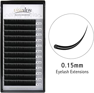 LASHVIEW Soft Application-friendly Eyelash Extension 0.15 Thickness Premium C Curl 12mm Eyelash Extensions Individual Natural Semi Permanent EyeLashes Mink Lashes (Salon Perfect Use)