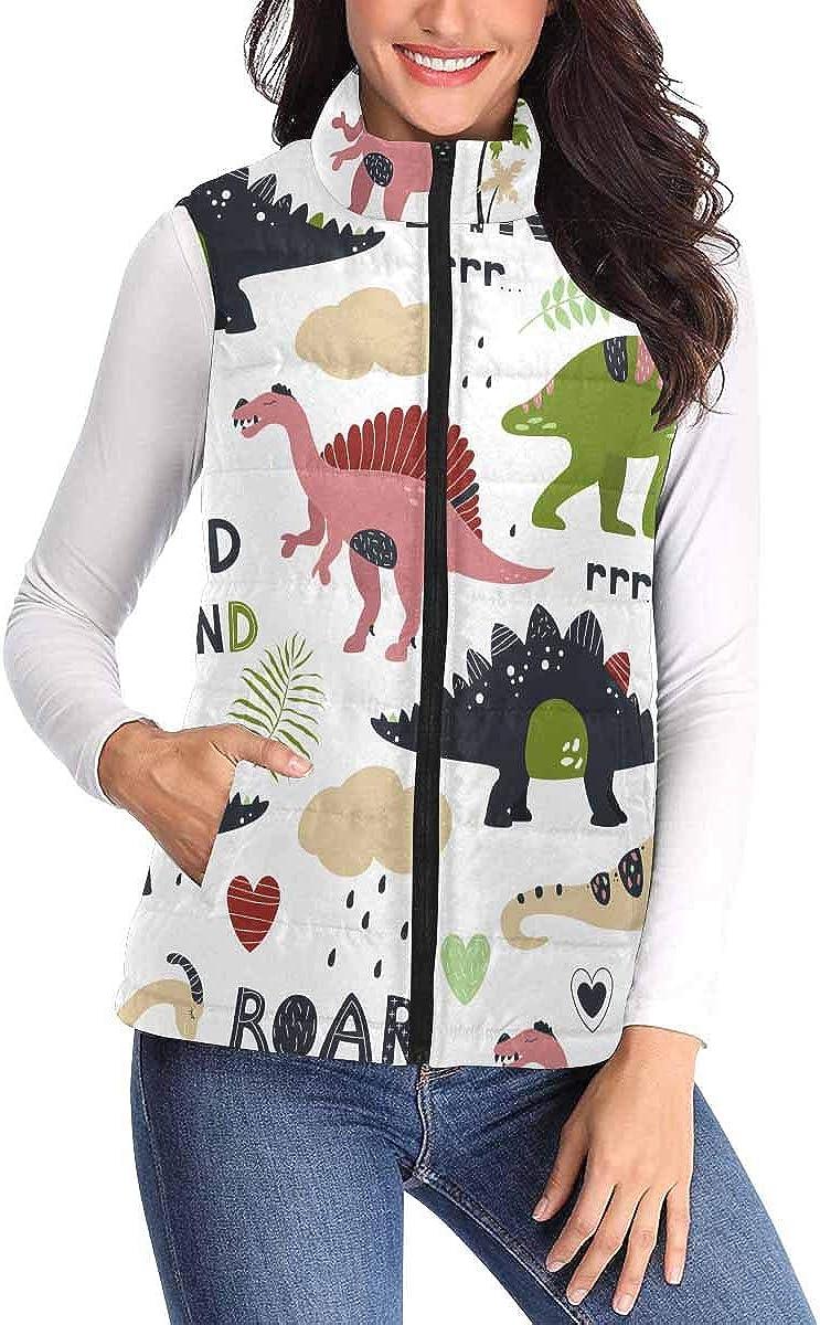 InterestPrint Women's Zip Vest Outerwear with Pockets Warm Sleeveless Vest Wild Firend Cute Dinosaurs