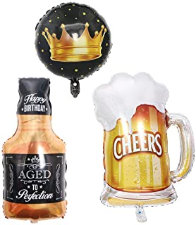 """Frosty Beer Mug 23"""" Giant Foil Balloon 35"""" Aged to Perfection Whiskey Bottle Super Shape Mylar Foil Balloon, Engagement Decorations,Black/Brown (Beer)"""