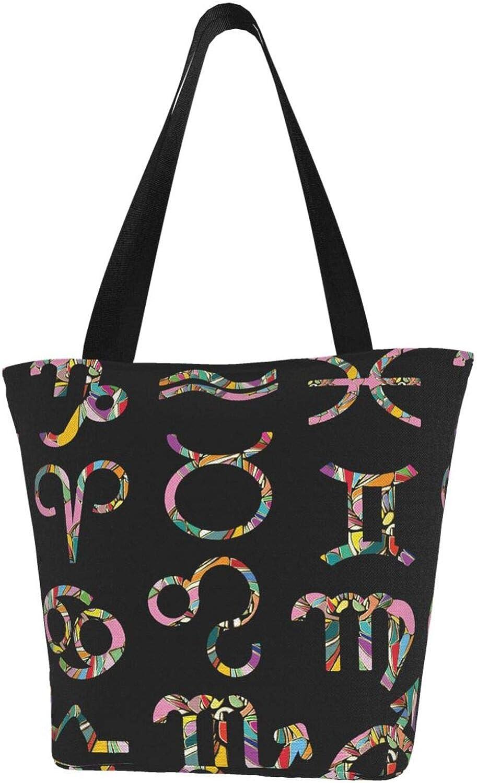 Cancer Zodiac Constellation Charm Stars Pink Themed Printed Women Canvas Handbag Zipper Shoulder Bag Work Booksbag Tote Purse Leisure Hobo Bag For Shopping