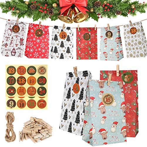 DazSpirit Geschenk Papiertueten, Adventskalender zum befüllen Kinder Zum Selber Befüllen Basteln Pinguin