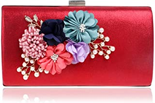 Flower Pearl Bridal Handbag, European and American Ladies 'Buckle Safety Ladies' Clutch, Dress Banquet Event Clutch, Decorative Items (22 * 4.5 * 11.5Cm),Red