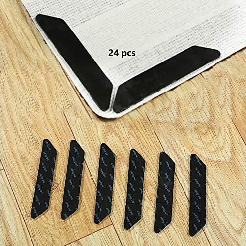 Ebingoo 24 agarres de doble cara anti rizamiento para alfombra, antideslizante y reutilizable para suelos de madera y duros, agarre de alfombra para alfombras, cinta de alfombra