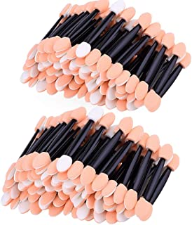 Amariver 200 Pack Disposable Eyeshadow Brush Sponge Tipped Oval Makeup Tool Dual Sides Eyeshadow Brush Comestic Applicator for Lady Women Daily Beauty (Black)