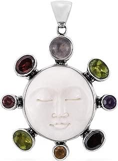 925 Sterling Silver Pendant Rose Quartz Garnet Boho Handmade Jewelry for Women