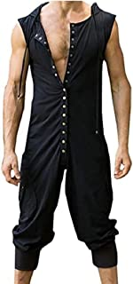 31430842b7d GAGA Mens Causal Romper Overalls Button Sleeveless Hoodie Jumpsuit