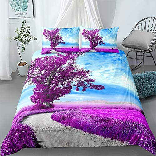 NBVGHJ Beautiful 3d Landscape Bedding Set, Scenic Duvet Cover Pillowcase, For Teen Adults Double Queen King Bed Sets 2/3pcs 220×260cm (Style A)