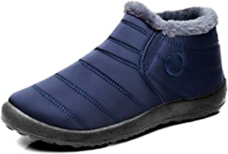 yeehao Warm Snow Boots Winter Warm Ankle Boots Fur Lining Boots Waterproof Thickening Winter Shoes for Women and Men