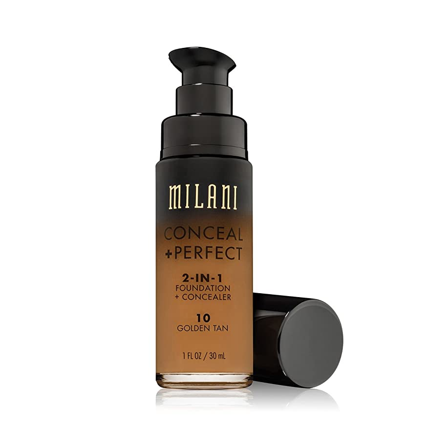 願望フロンティア匹敵します(3 Pack) MILANI Conceal + Perfect 2-In-1 Foundation + Concealer - Golden Tan