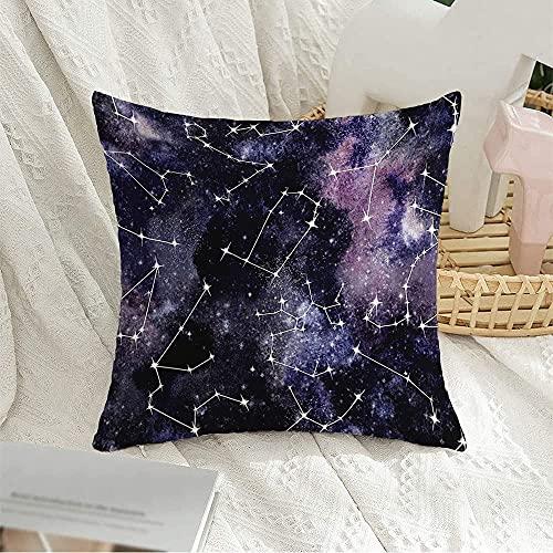 """Funda de almohada decorativa cuadrada Escorpio Azul Acuarela Patrón Mix Capricornio Espacio Estrellas Zodíaco Texturas naturales Libra Leo Pintura Funda de almohada para sofá Decoración de sofá, 18 """""""