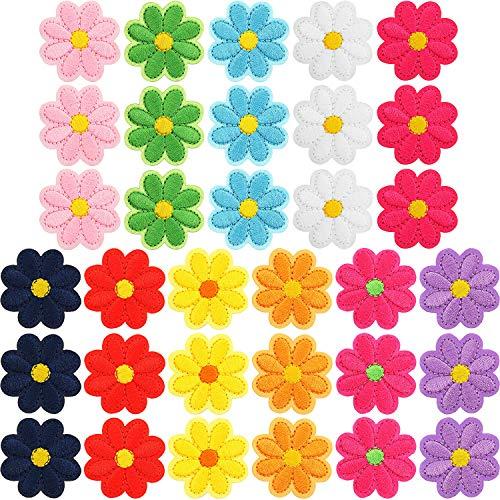 33 Stücke Blumen Applikationen Patches Bügeln Blumen Patches Bestickte Reparatur Patches Gemischte Farbe Dekorative Patches für Kleidung Kleid Plant Hut Jeans