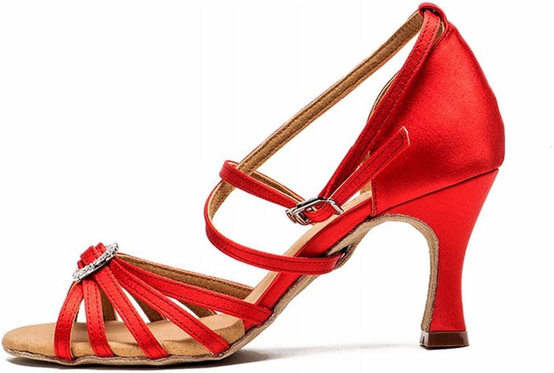 BYLE Leder Sandalen Riemchen Samba Modern Jazz Dance Schuhe Latin Dance Schuhe Weiblichen Erwachsenen Weichen Boden Nationaler Standard Tanz Schuhe Rot