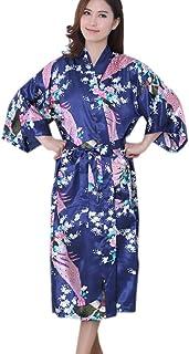 GGTFA Mujeres Kimono De Pavo Real Floral Túnicas Largas Estilo De Bata Bata De Dormir